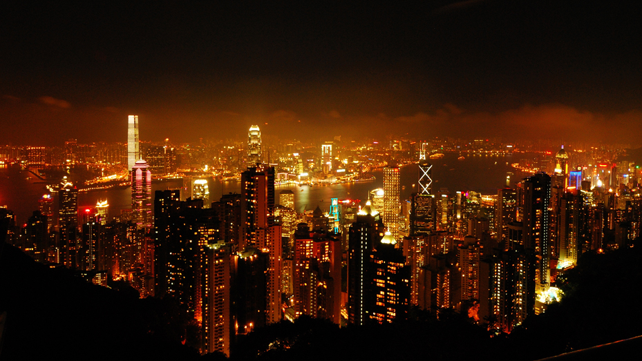 A night scene of Hong Kong City from the mountain peak