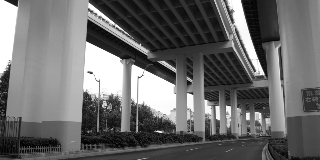 City streetscape and urban photography in black and white
