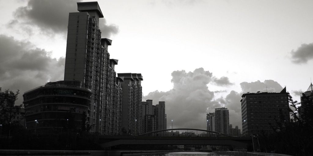 Stunning city skyline effect in black and white