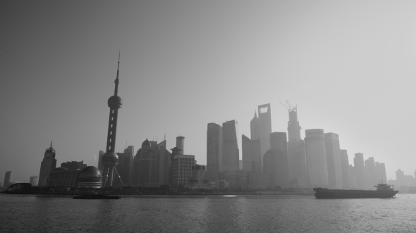 Shanghai Huangpu River, Pudong City Black and White Photography