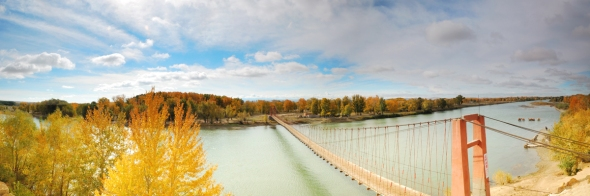Riverside hanging bridge
