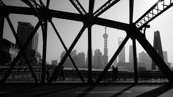 Oldest Historical Steel Bridge of Shanghai, Huangpu River