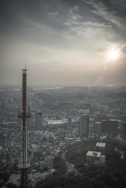 Seoul tower aerial city view from the top